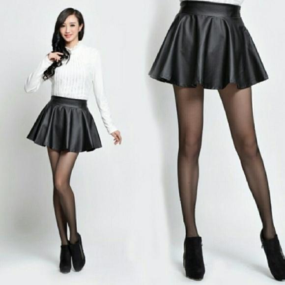 shop for luxury professional design beauty NWOT American Apparel black leather skater skirt
